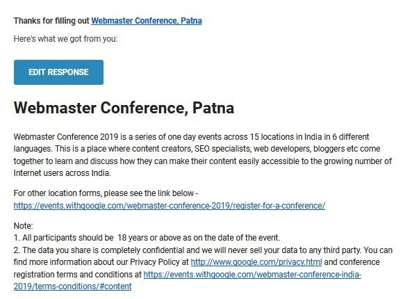 Conformation Email from Webmaster Conference Patna 2019