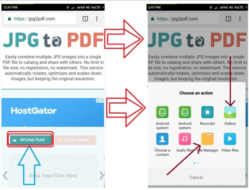 Jpg2pdf.com वेबसाइट mobile se pdf banane ke liye