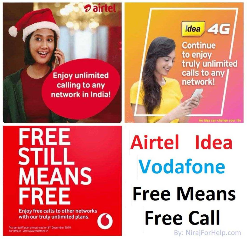 Airtel-Idea-Vodafone Free Means Free Call Offer