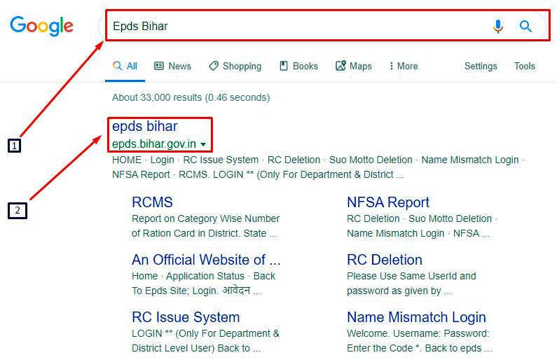 Google में epds bihar सर्च करने पर रिजल्ट