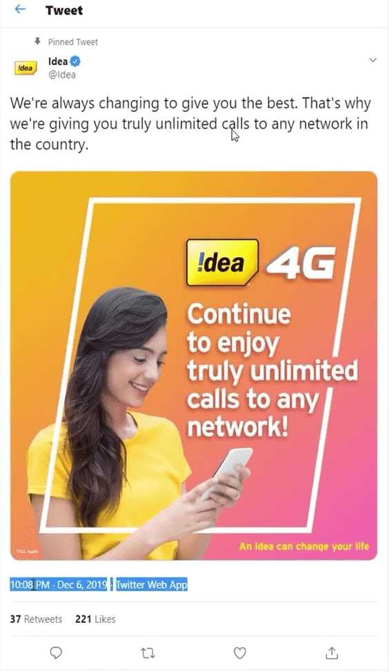 Idea 4G Continue to enjoy truly Unlimited calls at any networks