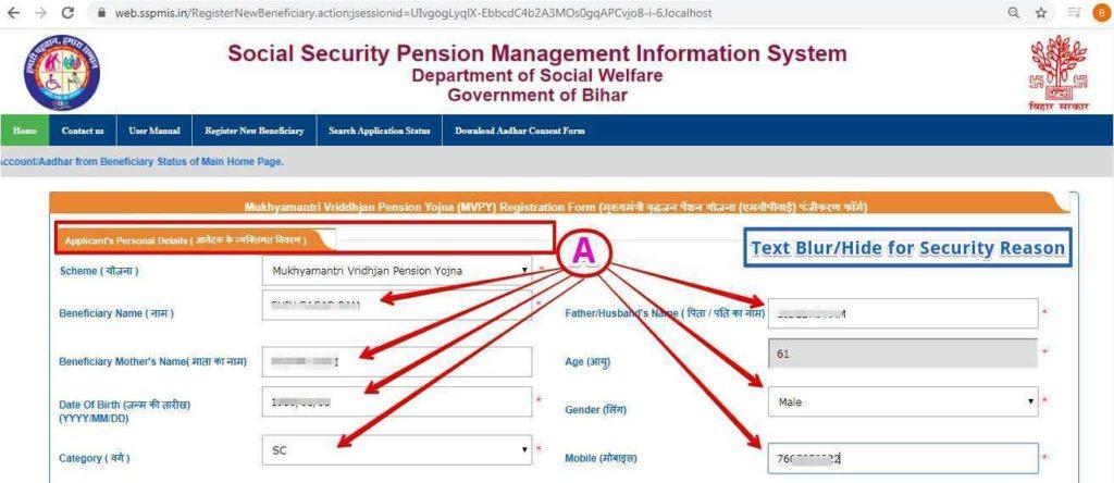 मुख्यमंत्री वृद्धजन पेंशन योजना के लिए आवेदक की व्यक्तिगत जानकारी
