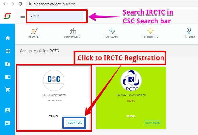 CSC के Search बार में सर्च करना है IRCTC