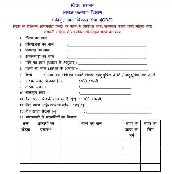 बिहार आंगनवाड़ी सहायता योजना कोरोना संक्रमण फॉर्म डाउनलोड