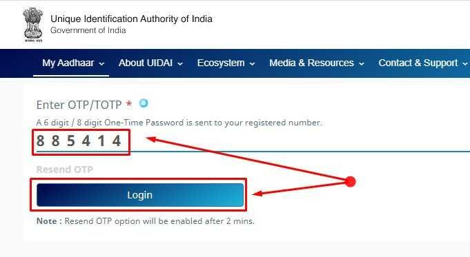 Enter OTP and click on Login