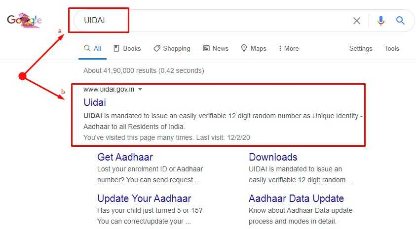 seach UIDAI in google hindi