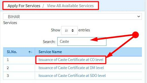 Issuance of Caste Certificate at CO level Bihar