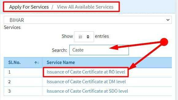 Issuance of Caste Certificate at RO level in Bihar
