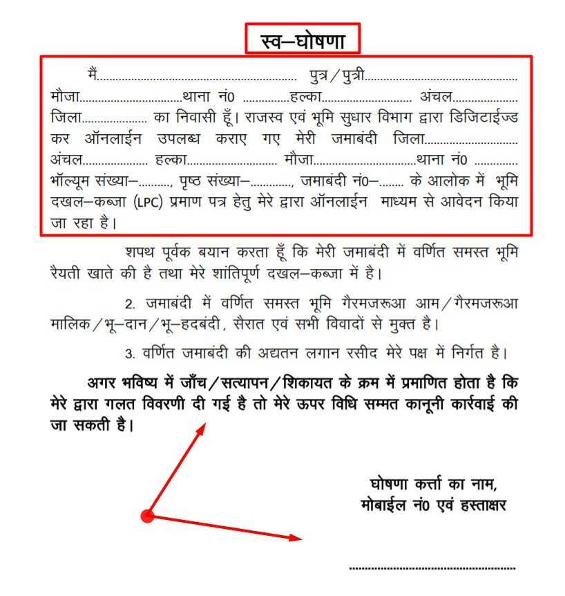 Affidavit Form Sample for Apply LPC Online Bihar