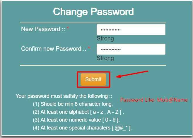 Change Password on National Scholarship Portal