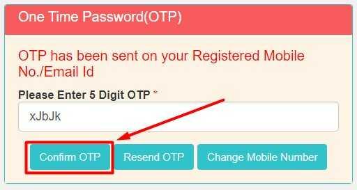 Confirm OTP for Login in NSP Website