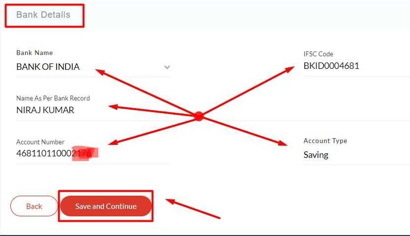 Insert Bank Details for Sahaj Mitr Registration
