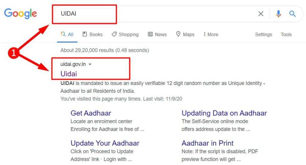 Search Result for UIDAI keyword in Google