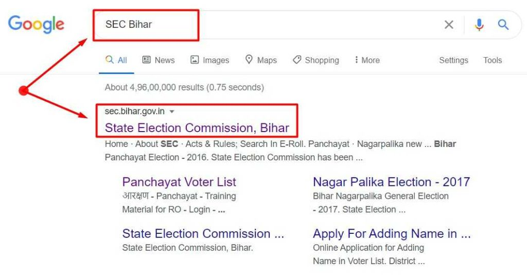 Search Result for keyword SEC Bihar in google