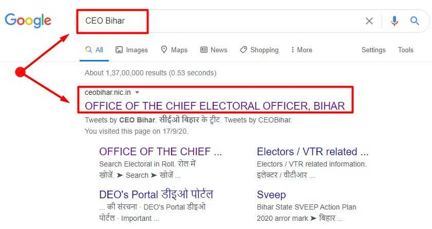 Search Result in Google for CEO Bihar Keyword