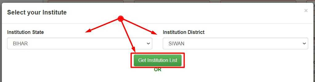 Select Your Institute for Scholar Apply on NSP Website 1