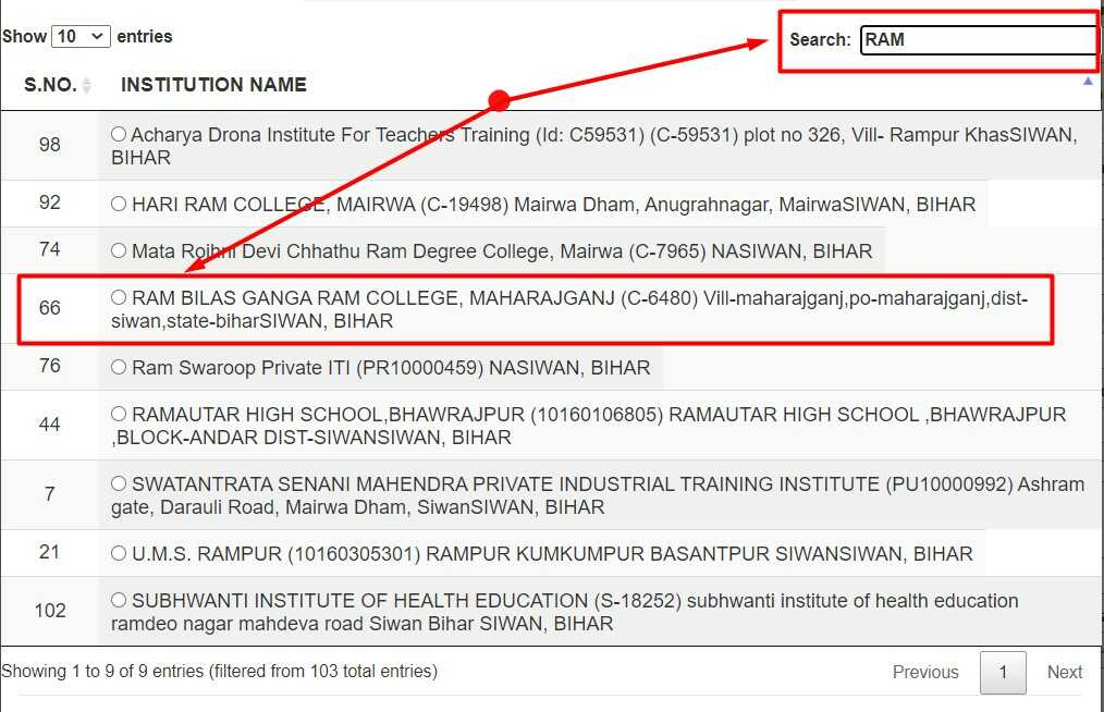 Select Your Institute for Scholar Apply on NSP Website 2