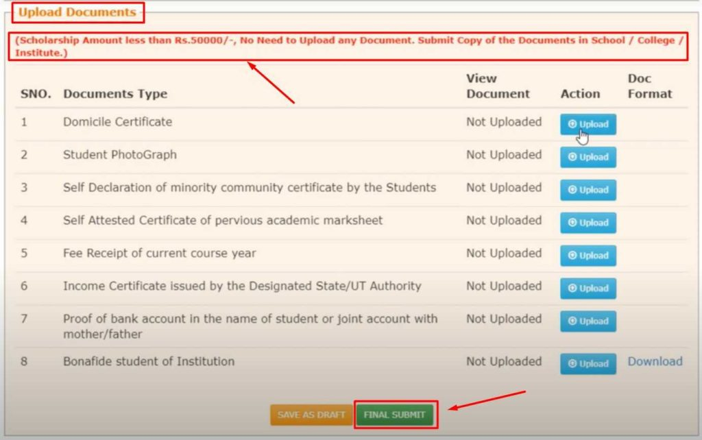 Upload Documents & Final Submit for Scholarship form Apply on NSP