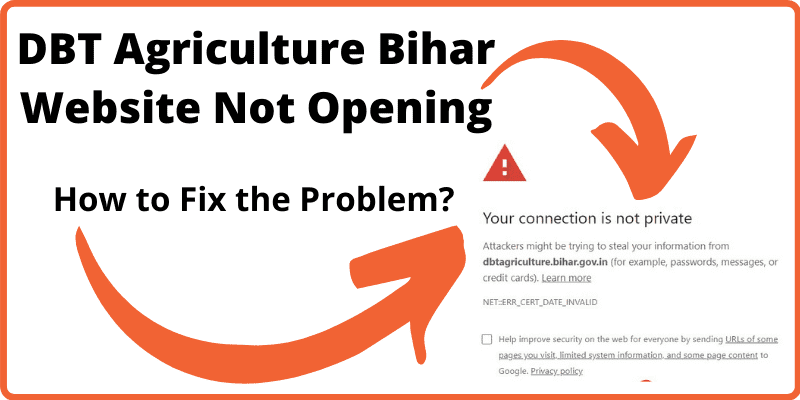 DBT Agriculture Bihar Portal Not Opening Problem Fixed