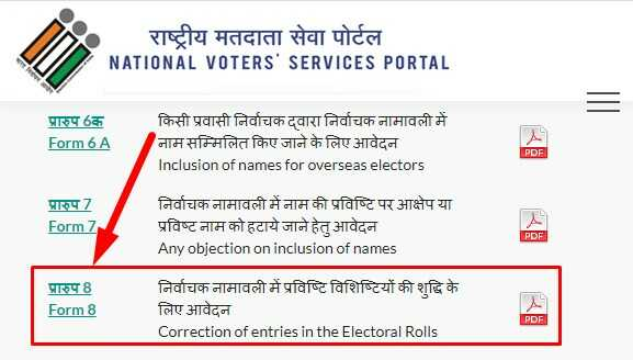 Form 8 For Online Voter ID Card Correction