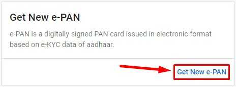 Get E PAN Option on Income Tax India Website