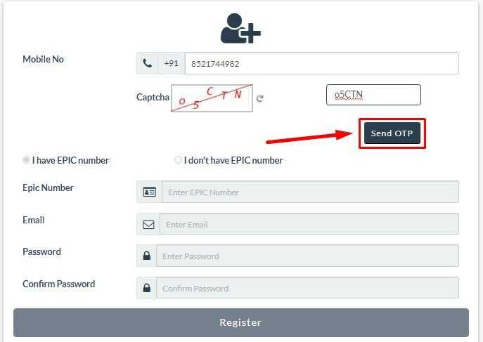 NVSP Portal Registration Process Send OTP on Mobile