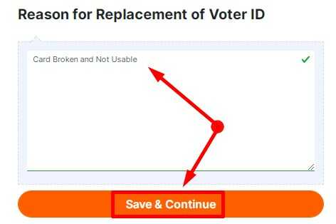 Reason for Replacement of Voter ID Answer - Card Broken not Usable