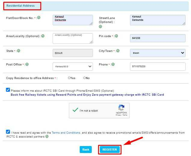 Address Information for IRCTC User ID Registration and final submit form