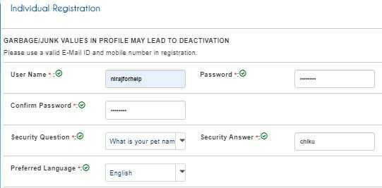 User and Password details for IRCTC User ID Registration
