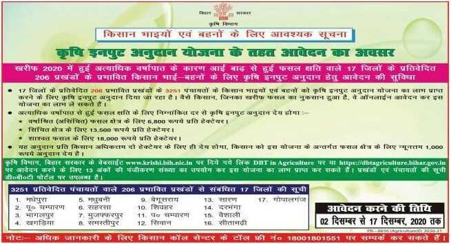 Bihar Krishi Input Anudan Yojana Notice