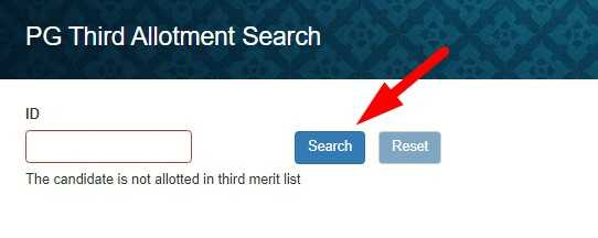 Check Name in 3rd JP University Merit List of PG via ID