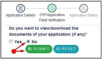 Service Plust Bihar Tick on No when its ask Do you want to view download document of your application (if any)
