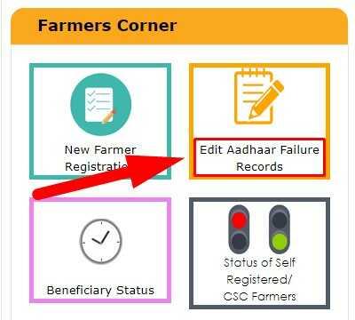 Edit Aadhaar Failure Records in PM Kisan Samman Nidhi Yojana on PMKisan.gov.in Portal