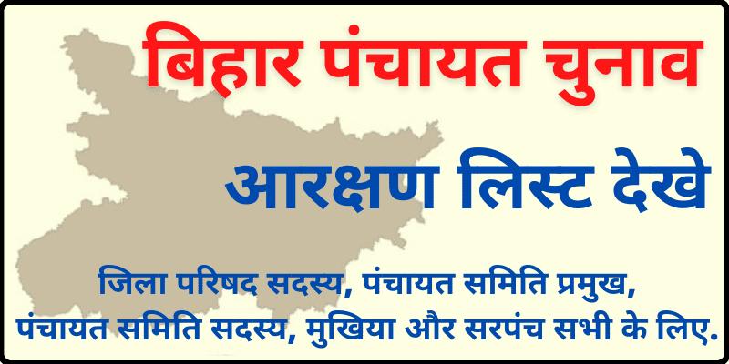 Download Bihar Panchayat Election Reservation List