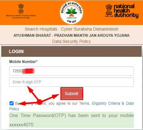 Enter OTP and Click on submit for Checking your Name in Ayusman Bharat Yojana List
