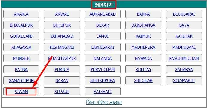 Select District for Bihar Panchayat Chunav Reservation List Check Online