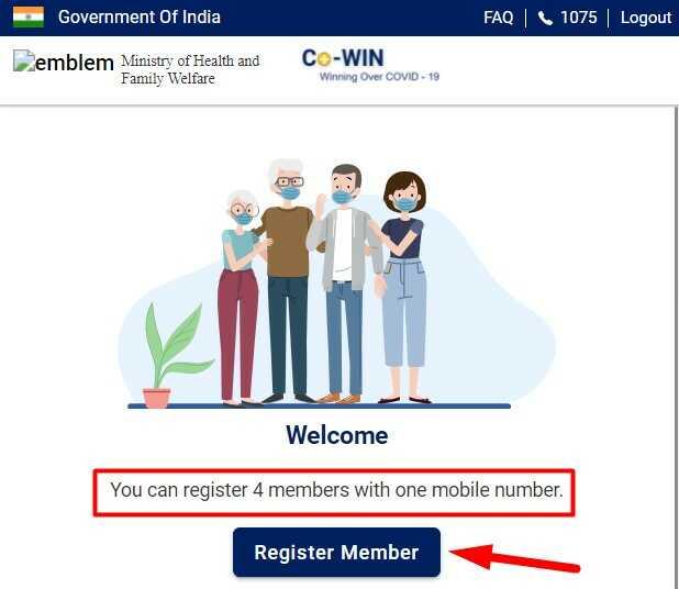 Register Member for Covid Vaccine Registration Online