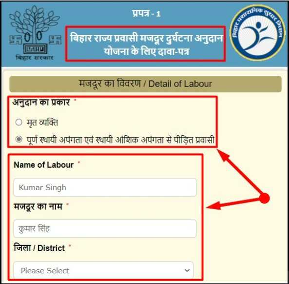 Bihar Labour Accident Grants Scheme Application Form
