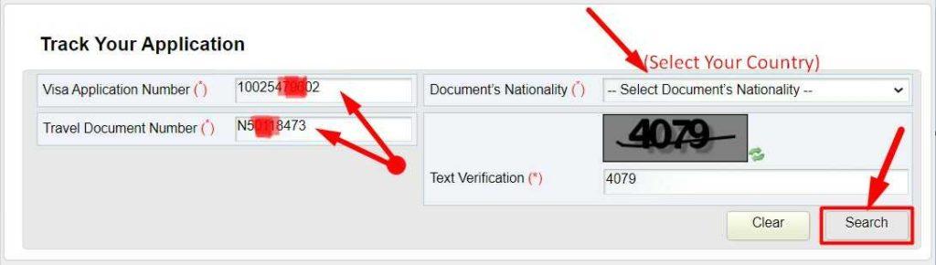 Enter Visa Application Number & Travel Document Number or Passport Number for Oman Visa Status Trace
