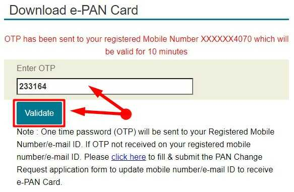 Enter and Validate OTP for E Pan Card Download Online by NSDL Website