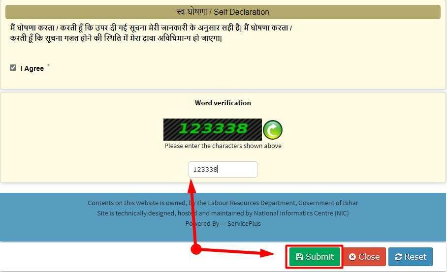 Final Submit Application form for Bihar Labour Accident Grants Scheme