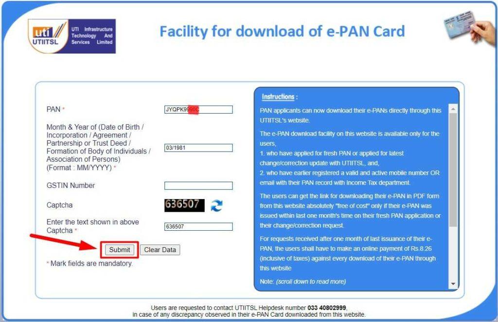 UTITSL Official Website for UTI PAN Card Download Online Hindi