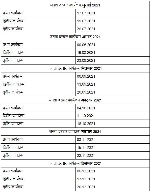 Bihar Janta Darbar Schedule 2021  जनता दरबार टाइम टेबल