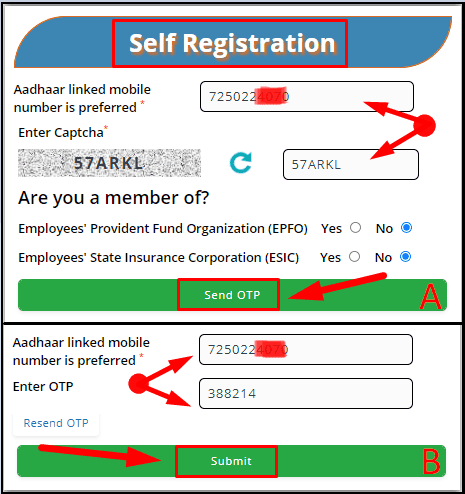 Verify Mobile Number for E Shram Card Download