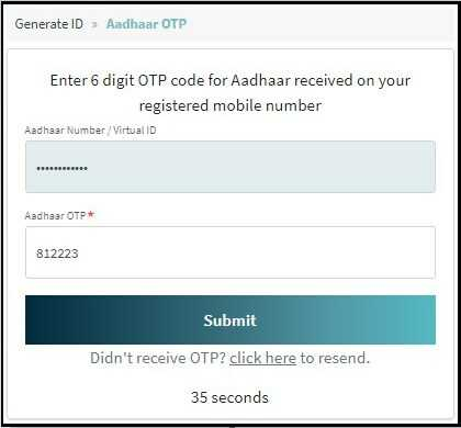 Verify Aadhar OTP for Create or Generate Health ID Card Online